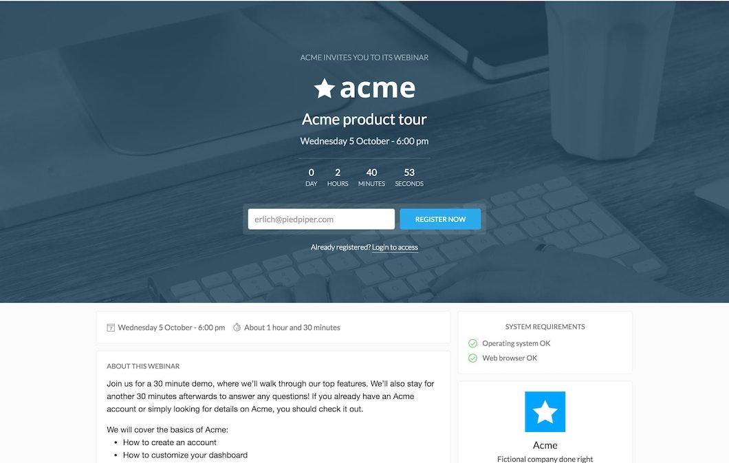 Webinar registration page Livestorm
