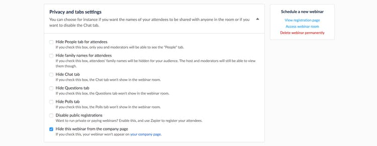 company page settings livestorm
