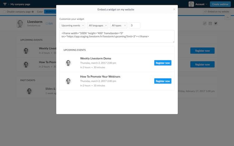 embed company page livestorm
