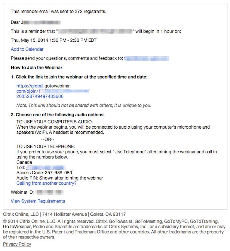 gotowebinar email