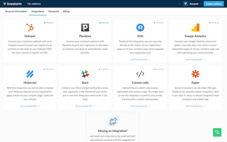 Webinar integrations