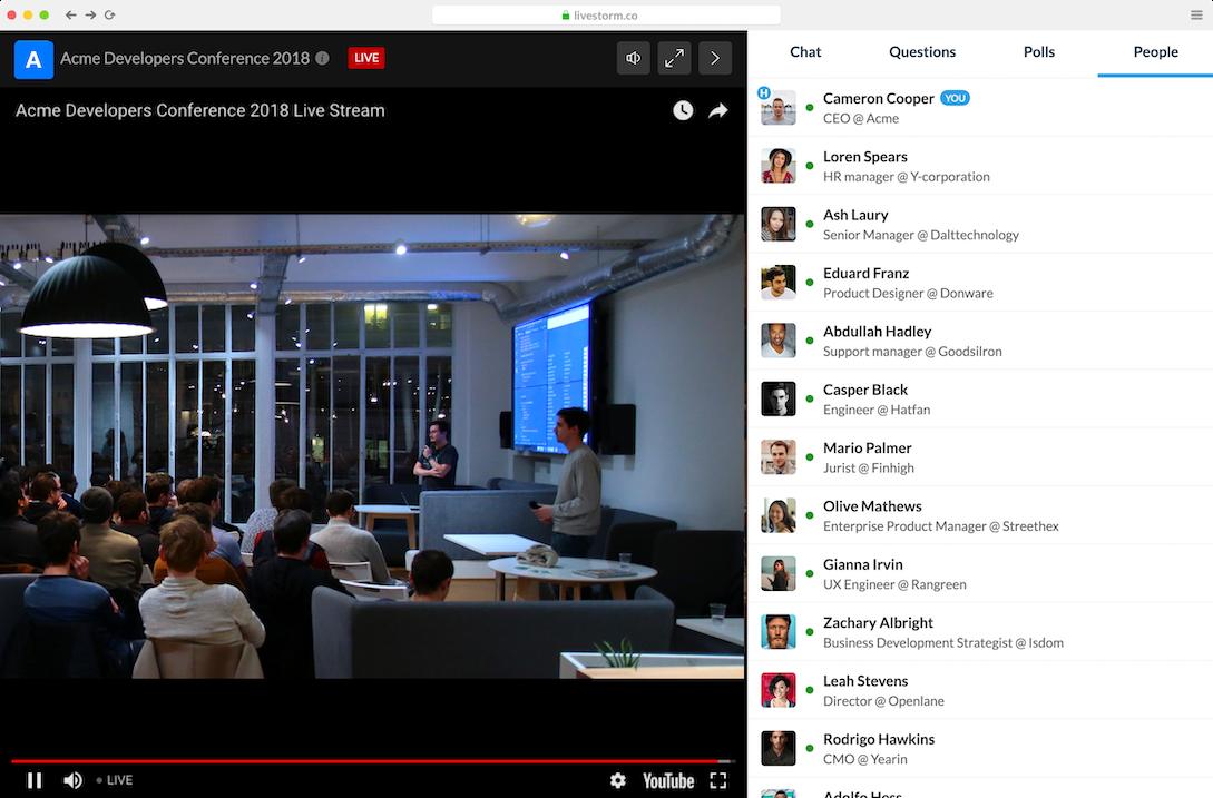 Live event streaming webinars