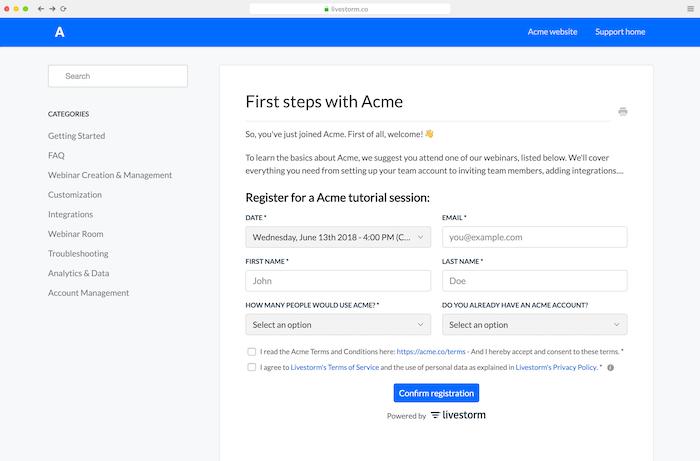 Embed the webinar registration form