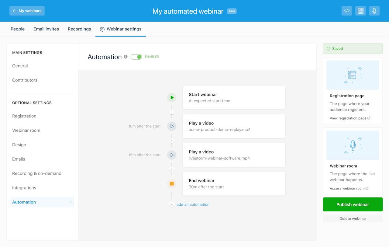 livestorm automated webinars