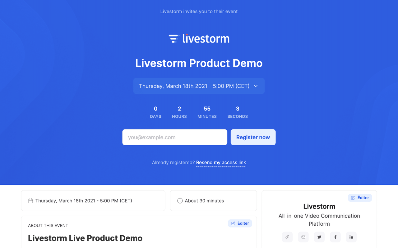 livestorm product demo event screen