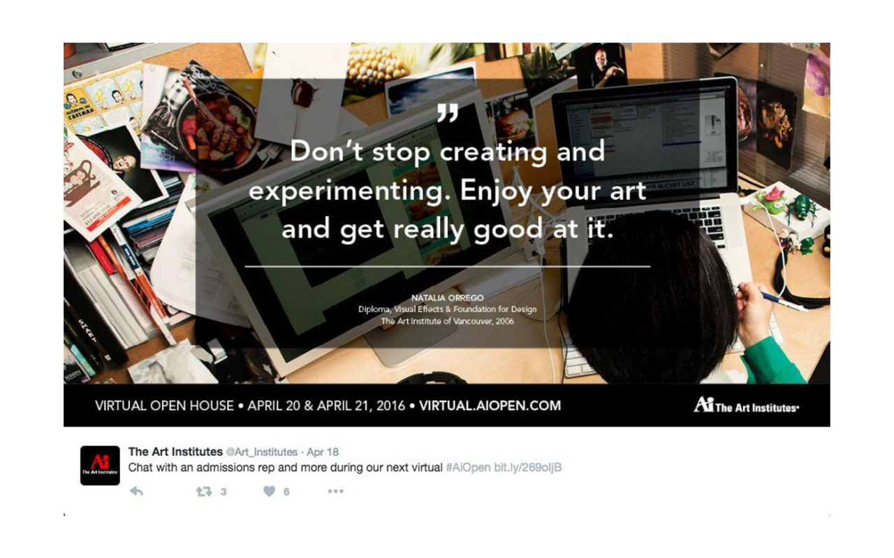 Banner saying Don't stop creating and experimenting. Enjoy your art and get really good at it.