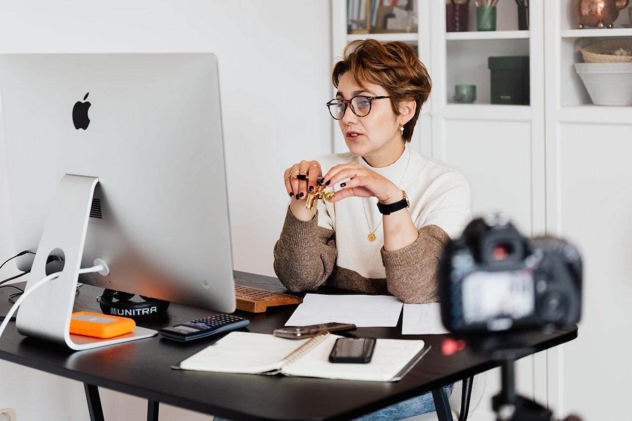 woman hosting a webinar