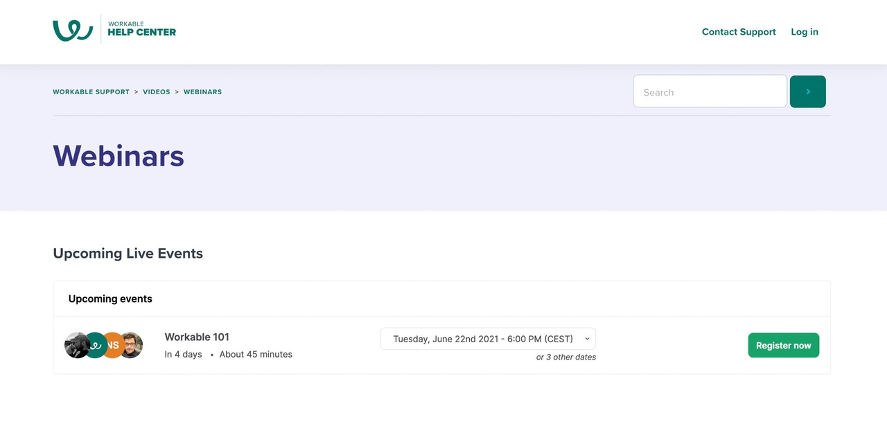 Livestorm widget on Workable site