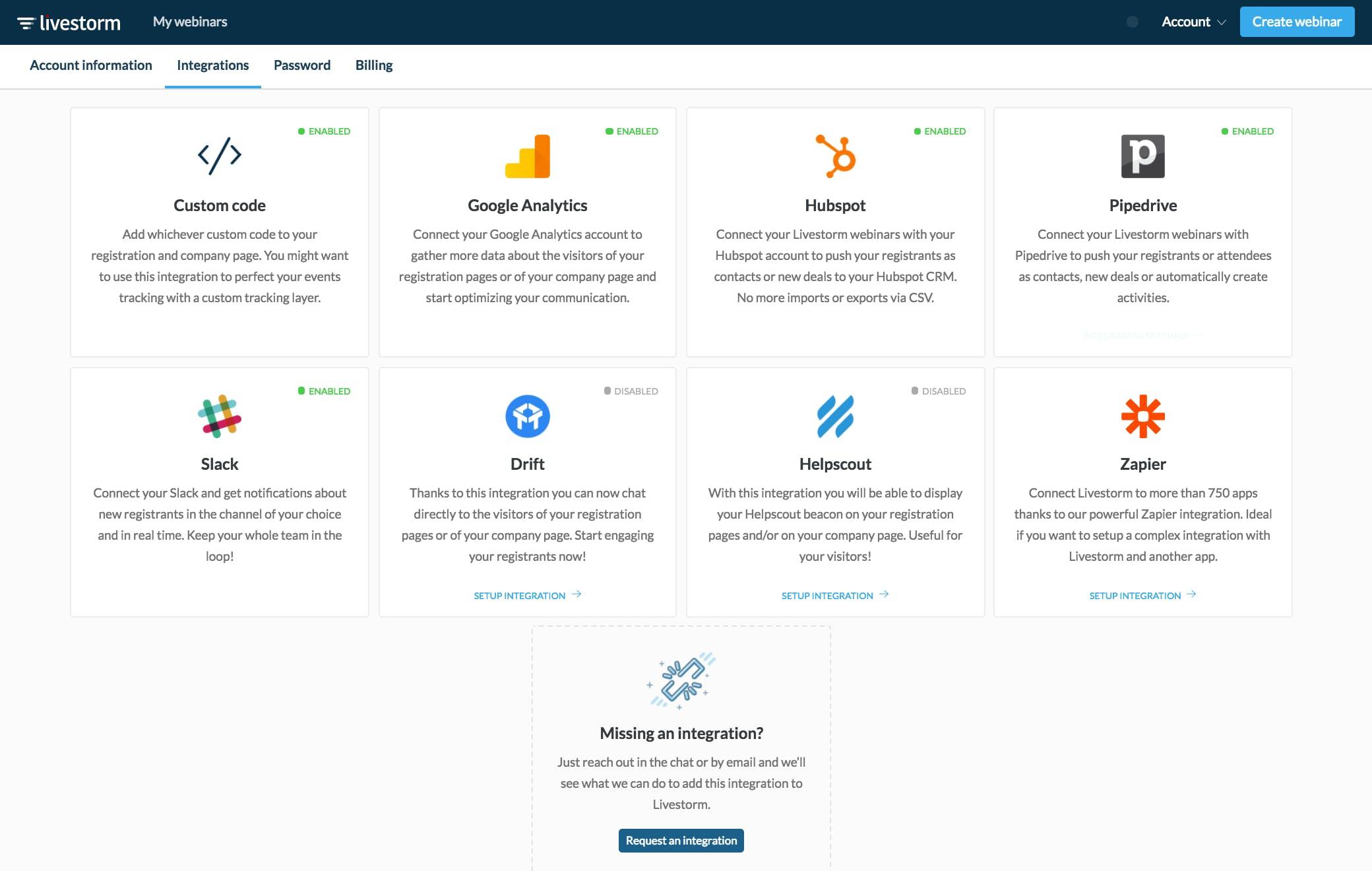 Webinar integration Livestorm
